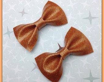 Pin Up Bow Rockabilly Bow Orange Glitter Vinyl Hair Bow Small Pinup Bow Glitter Bow vinyl bow Rockabilly Wedding Sparkle Vinyl Psychobilly