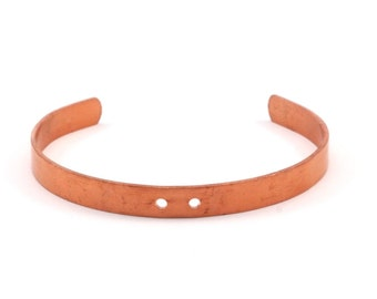 3 Raw Copper Bracelet Stamping Blank Cuff 2 Holes (6x145x1mm)  BRC78