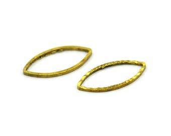 Simple Geometric Charm, 50 Raw Brass Marquise Charms  (15x8 mm) M01 A0567