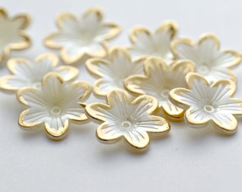 Pearl Pearly Gold Acrylic Flower Bead Cap Beads 23mm (12)