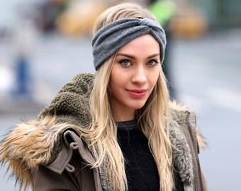 Ear Warmer Women's Turban Headband Cashmere Headwrap Hair Accessory Black Headband Boho Headband Fall Fashion Knit Headband Wide Headband