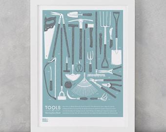 Garden Shed Tools Design, Gardening Wall Art, Garden Tools, Home Decor, Illustrated Wall Design