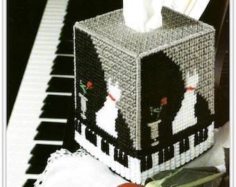 Cat, Piano & Rose Tissue Topper Pattern - Plastic Canvas - PDF 12111501