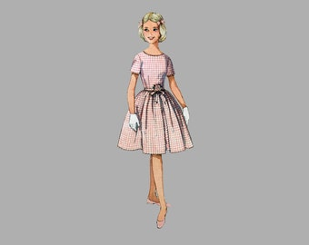 1962 Girl One-Piece Dress Pattern Simplicity 4366, Size 12 Simple to Make, Pleated skirt, Oval neck, Short sleeves Front tie sash, complete