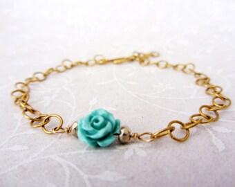 Turquoise  Flower bracelet,  gold plated dainty flower bracelet