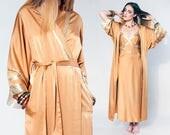 80s Natori gold goddess robe and maxi slip dress set, size small