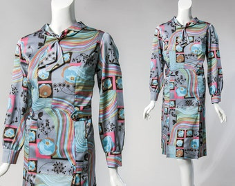 60s grey striped, floral, and geo print - ascot tie, long sleeve dress | size large