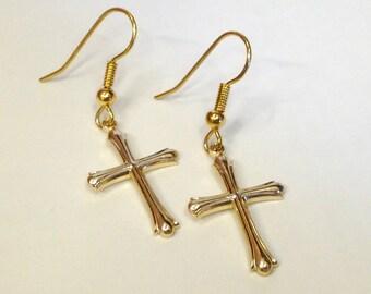 Cross Earrings - Gold - Hypo Allergenic