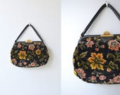Everly Garden tapestry handbag | vintage 1960s floral purse | velvet 60s carpet bag
