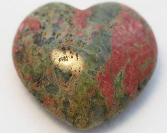 """Unakite 1-5/8"""" Slightly-Puffed Heart for uniting, integrating and balancing"""