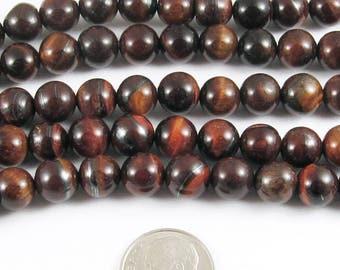 "Round Gemstone Beads-Red Tiger Eye 15"" Strand 8mm (48)"