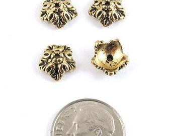 TierraCast Pewter Bead Caps-Antique Gold Oak Leaf (4)