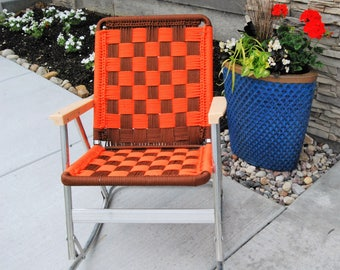 Vintage Lawn Chair Rocking  Orange and Brown Macrame