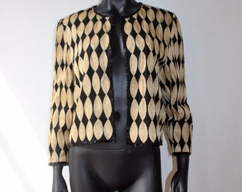 Vintage Silk Embroidered Crop Jacket size Small-Golden Glam