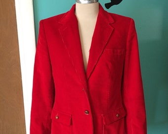 Crimson Corduroy - 1970's Classic Red Corduroy Jacket with Leather Elbow Patches