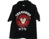 """Vintage 1993 Zubaz """"TAZMANIAN DEVIL GYM"""" Hooded T-Shirt size M Made in U.S.A. Warner Bros."""