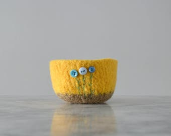 yellow and tan felted wool bowl with vintage button flowers - soft storage - catchall - air plant planter - ring bowl