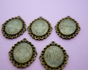five Large MIXED METAL laced pendants