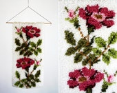 Vintage Latch Hook Floral Print Small Home Decor Wall Hanging