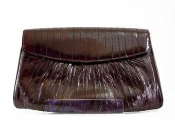 Vintage Dark Brown Eel Skin Retro Clutch Handbag Purse