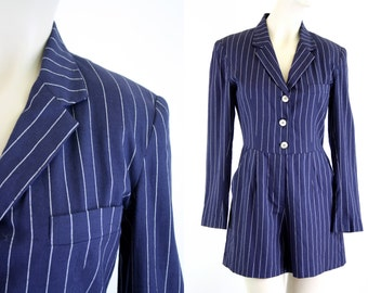 Vintage 90's LIMITED  Brand Navy Blue Pinstripe One Piece Woman's Retro Long Sleeve Short Set Jumper