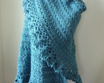 Crochet Shawl in a Rich Blue Tone - Wrap Evening Wear - Women's Shawl - Ready to Ship - Direct Checkout - Gift for Her