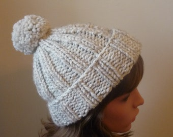 Chunky Knit Hat with Pompom and Rolled Brim Warm Wool Blend Winter Hat in Wheat - Ready to Ship - Direct Checkout