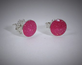 Sterling bauble earrings with hot pink resin