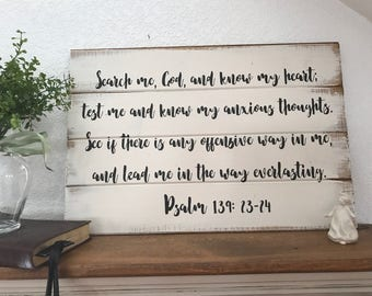 "Psalm 139 sign and prayer  14""w x 21""h hand-painted wood  sign christian sign, scripture, bible verse"