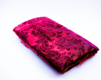 Burgundy Red Fabric Flocked Organza with Velvet Damask Design Printed Flocked Organza Velvet  Print Fabric