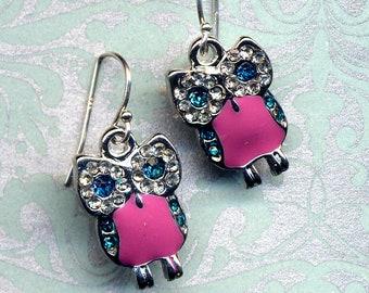 Owl Earrings, Sterling Silver Owl Earrings, Dressy Little Owls in Turquoise and Pink Earrings. Sterling Hoot Earrings, Swarovski Owl Earring