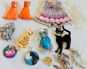 Vintage Cat Brooch Lot Pins crafting wear