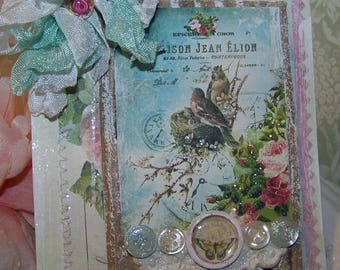 Mothers Day Card Handmade All Occasion Card for Mom Vintage Style Birthday Card for Mom Mixed Media