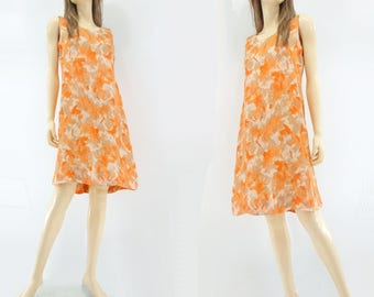 60s Shift Dress Vintage Orange Dress Abstract Floral Dress 1960s Sun Dress Sleeveless Dress Knee Length Dress 60s Summer Dress xs / s
