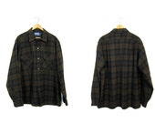 Brown Black Wool Pendleton Flannel 80s Button Up Wool Shirt Preppy Wool Hunting Shirt Boyfriend Plaid Shirt Outdoors Mens Large