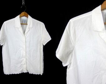 Basic 90s Cotton Shirt Scalloped Button Down white Blouse Preppy Collar T Shirt Plain Basic Vintage Floral Embroidery Women's Size Large