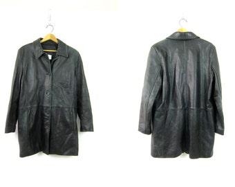 Black Leather Trench Coat 1990s Button Down Leather Jacket Long Midi Length Leather Coat Supple Lambskin Lambs Skin Womens Size Large