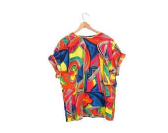 Abstract Boxy Top 80s 90s Colorful Floral Print Shirt Short Sleeve Blouse Paint Strokes Print Slouchy Boho Top Womens Medium