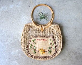 Natural Woven Market Bag Philippines Straw Beach Bag with Wooden Handles Raffia Twine Tote Bag Bohemian Natural Hippie Top Handle Bag DELLS