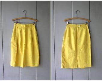 Vintage Yellow Linen & Cotton Skirt 80s Minimal Pencil Skirt Modern Bright Linen Midi Skirt Basic High Waist Skirt POCKETS Womens XS