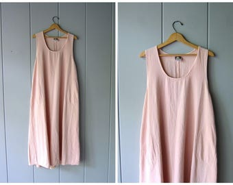 Vintage 90s Pink Dress Simple Cotton Maxi Dress Sleeveless Summer Tank Dress Side Pockets Oversized Rose Pink Dress Womens XL Large