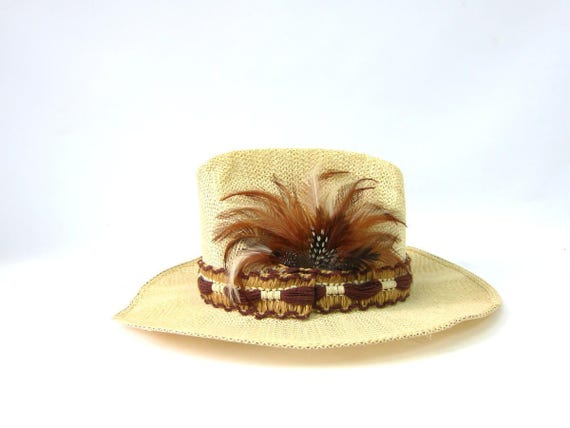 Straw Cowboy Hat Mens Womens Off White Western Cowgirl Hat with Feathers Boho Vintage Hipster band Hat Unisex Size Small