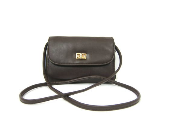 90s Small Brown Purse with Removeable Crossbody Strap Preppy Wallet Bag Vintage Simple Cross Body Preppy Wallet Purse