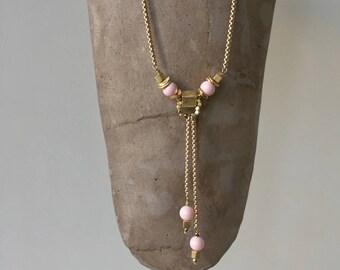 cube pendant pink & gold