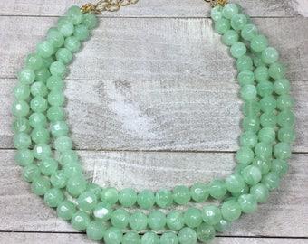 Statement Necklace - Bridesmaid Jewelry - Wedding Jewelry - Mint Seafoam Beaded Necklace - Jade Color - Multi Strand Bold Necklace -