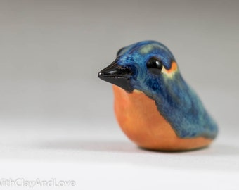 Pottery Kingfisher Bird Sculpture - Miniature Ceramic Porcelain Clay Blue Animal Decorative Home Decor Ornament - Terrarium Figurine