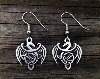 Celtic Dragon Pewter Earrings | Celtic Jewelry | Fantasy Jewelry | Medieval Jewelry | Dragon Earrings | by Treasure Cast Pewter