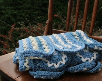 Blue Afghan Crochet blanket Lap blanket Couch throw Team Spirit Throw blue white cream blanket