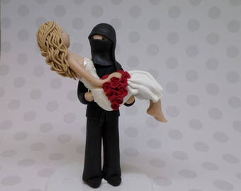 Bride & Ninja Groom Custom Threshold Pose Wedding Cake Topper
