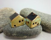 READY TO SHIP...Miniature Terracotta House Beads...Set of 2...Copper Patina/Black Roof